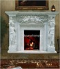 Beautiful Marble Fireplace With Flower Carving
