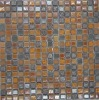 Glossy glazed ceramic and gold foil glass mosaic building stone